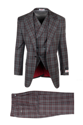 New Rosso Gray with Red Windowpane, Pure Wool, Wide Leg Suit & Vest by Tiglio Rosso R7412/6