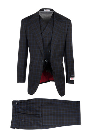 New Rosso Brown with Light Blue Windowpane, Pure Wool, Wide Leg Suit & Vest by Tiglio Rosso R7413/3
