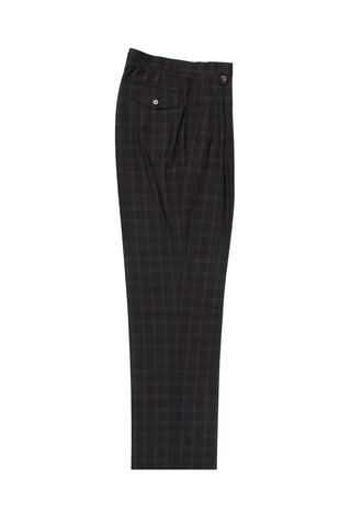 Dark Brown with Chocolate Windowpane Wide Leg, Wool Dress Pant 2586/2576 by Tiglio Luxe R7413/4