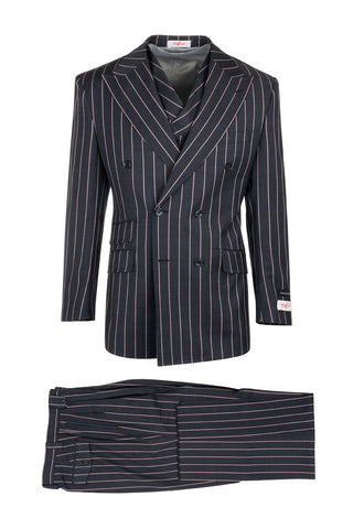 EST Navy Blue with Salmon Stripes, Pure Wool, Wide Leg Suit & Vest by Tiglio Rosso R7464/1