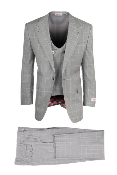 Luca Light Gray with Cream Windowpane, Pure Wool, Wide Leg Suit & Vest by Tiglio Rosso R8150079/1