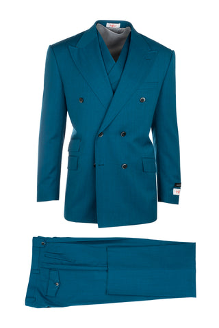 EST Teal, Pure Wool, Wide Leg Suit & Vest by Tiglio Rosso R899611/4500