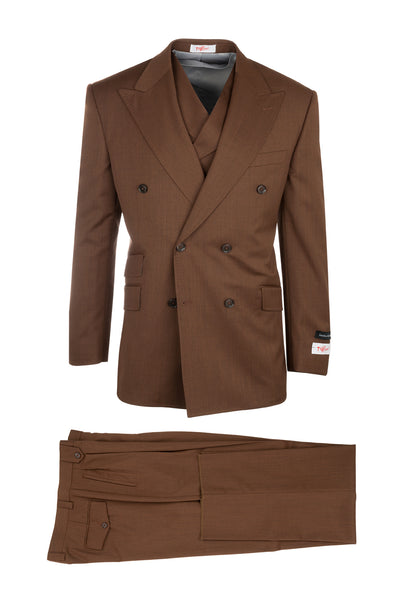 EST Saddle Brown, Pure Wool, Wide Leg Suit & Vest by Tiglio Rosso R899612/4503