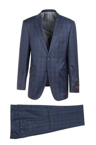 Dolcetto Midnight with Royal Blue Vertical Stripes Modern Fit, Pure Wool Suit by Tiglio Luxe R996123/5