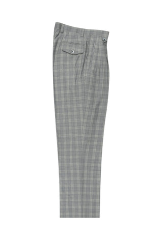 Medium gray with houndstooth design and windowpane, Wide Leg Wool Dress Pant 2586/2576 by Tiglio Luxe RB3891/018/1