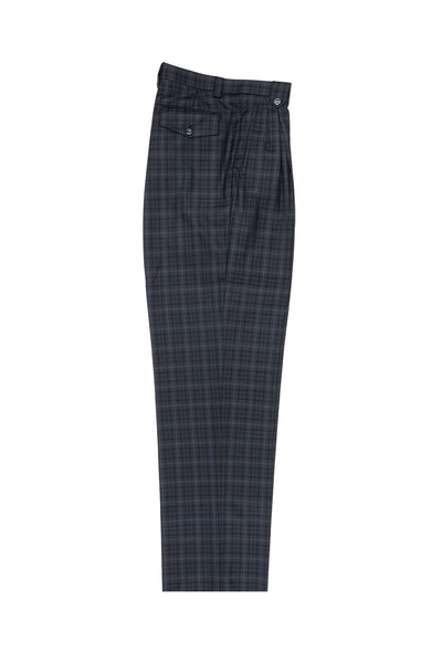 Blue, Black and Brown Check with Tan Windowpane Wide Leg, Wool Dress Pant 2586/2576 by Tiglio Luxe RF1023/1