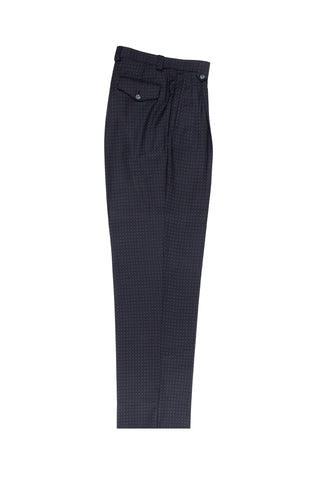 Black, Cream and Punch Micro-Design Wide Leg, Wool Dress Pant 2586/2576 by Tiglio Luxe RF1047/2