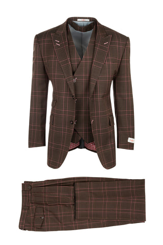 Portofino Brown with Black and Pink Windowpane Pure Wool, Wide Leg Suit & Vest by Tiglio Rosso RF2627/1