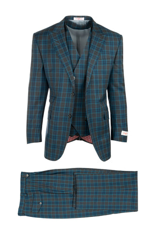 Portofino Gray with Light and Medium Blue Plaid Pattern Pure Wool, Wide Leg Suit & Vest by Tiglio Rosso RS2637/5