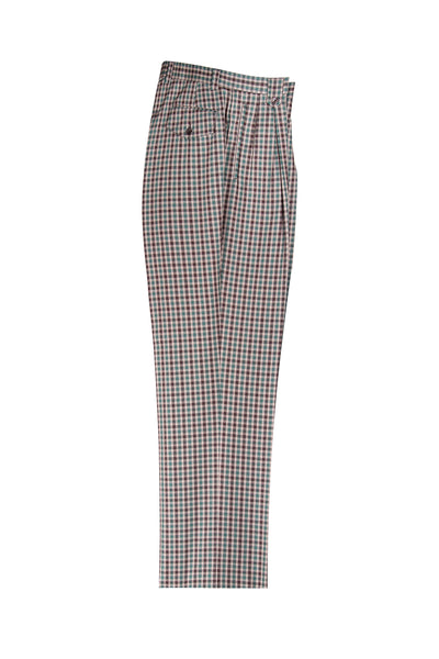 Cream, Green and Brown Check Pattern Wide Leg Wool Dress Pant 2586/2576 by Tiglio Luxe FJ2203/1