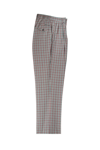 Cream, Green and Brown Check Pattern Wide Leg Wool Dress Pant 2586/2576 by Tiglio Luxe RF2638/3