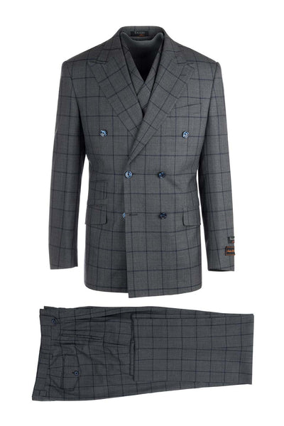 EST Medium Gray with Navy Blue Windowpane, Pure Wool, Wide Leg Suit & Vest by Tiglio Rosso RG8878F/488/1