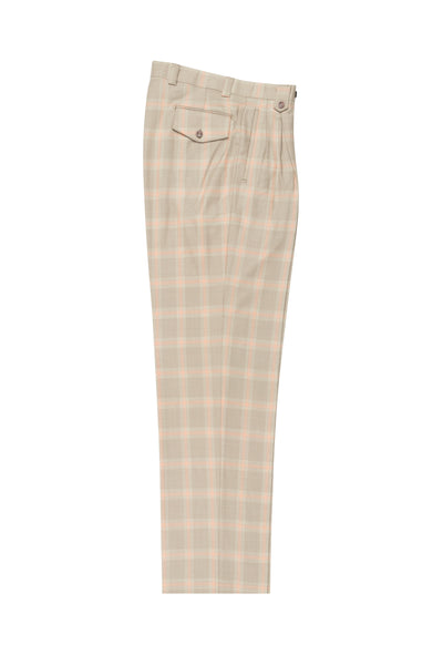Tan with orange windowpane, Wide Leg Wool Dress Pant 2586/2576 by Tiglio Luxe RQ207/13/2