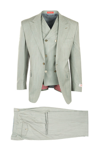 San Giovesse Tan with Aquamarine Stripes, Pure Wool, Wide Leg Suit & Vest by Tiglio Rosso RS43236/2