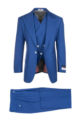 New Rosso Royal Blue, Pure Wool, Wide Leg Suit & Vest by Tiglio Rosso RS4361/1