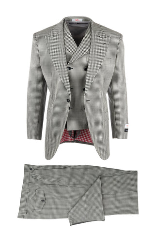 San Giovesse Black and White Check, Pure Wool, Wide Leg Suit & Vest by Tiglio Rosso RS5224/1