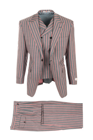 San Giovesse Gray with Salmon Bold Stripes Suit & Vest by Tiglio Rosso RS5461/9