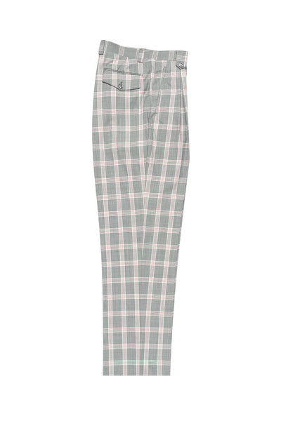 Gray with Offwhite and Pink Windowpane Wide Leg, Wool Dress Pant 2586/2576 by Tiglio Luxe RS5558/1