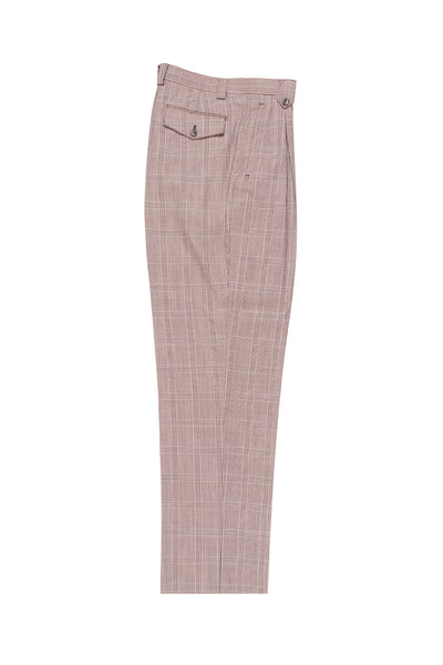 Burgundy, Black and Offwhite Windowpane Wide Leg, Wool Dress Pant 2586/2576 by Tiglio Luxe RS5571/6