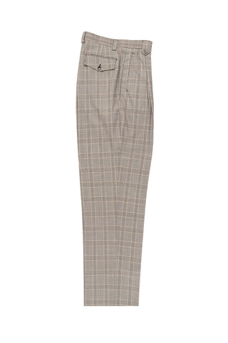 Tan and Brown Windowpane Wide Leg, Wool Dress Pant 2586/2576 by Tiglio Luxe RS5587/1