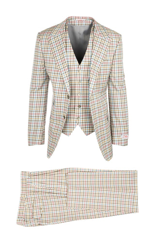 Pomino Cream, Blue, Pink, Yellow and Brown Check Pattern Pure Wool, Wide Leg Suit & Vest by Tiglio Rosso RS6307/3