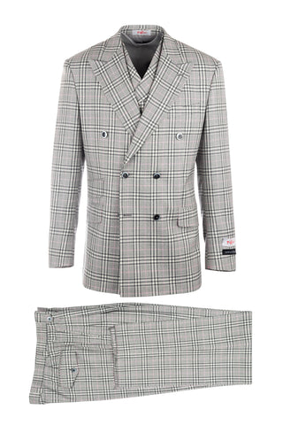 EST Black and Offwhite Plaid with Pink Windowpane Overlay, Pure Wool, Wide Leg Suit & Vest by Tiglio Rosso 55171/1