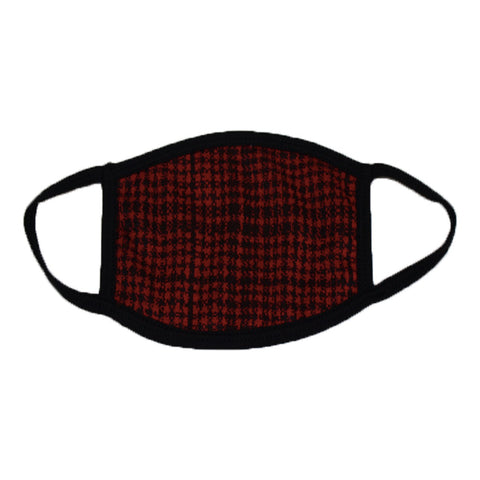 Red Houndstooth Face Mask