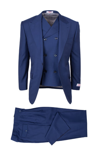 San Giovesse French Blue, Pure Wool, Wide Leg Suit & Vest by Tiglio Rosso
