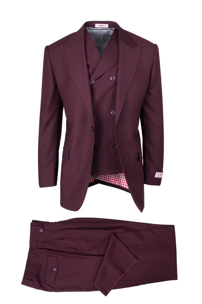 San Giovesse Burgundy, Pure Wool, Wide Leg Suit & Vest by Tiglio Rosso