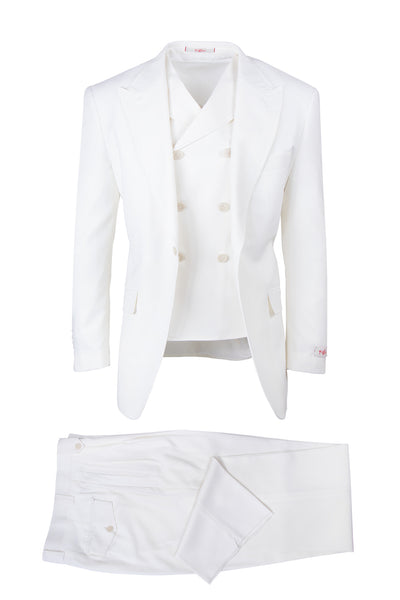 San Giovesse Off-White, Pure Wool, Wide Leg Suit & Vest by Tiglio Rosso