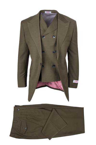 San Giovesse Olive, Pure Wool, Wide Leg Suit & Vest by Tiglio Rosso