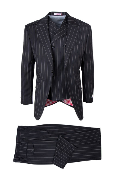 San Giovesse Black Bold Pinstripe Pure Wool, Wide Leg Suit & Vest by Tiglio Rosso TIG1052
