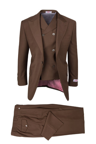 San Giovesse Tobacco, Pure Wool, Wide Leg Suit & Vest by Tiglio Rosso