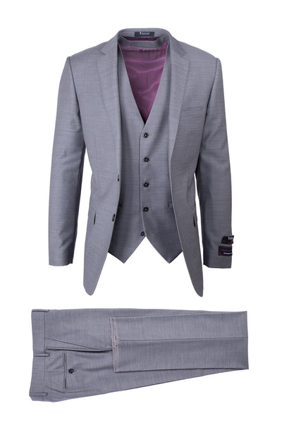 Sienna Light Gray, Slim Fit, Pure Wool Suit & Vest by Tiglio Luxe E09063/26
