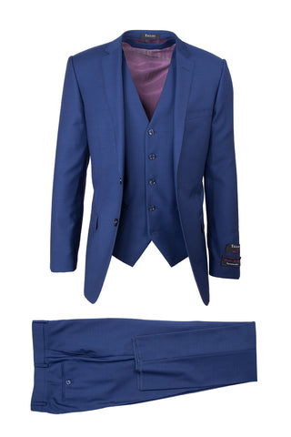Sienna French Blue, Slim Fit, Pure Wool Suit & Vest by Tiglio Luxe