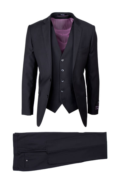 Sienna Black, Slim Fit, Pure Wool Suit & Vest by Tiglio Luxe TIG1001