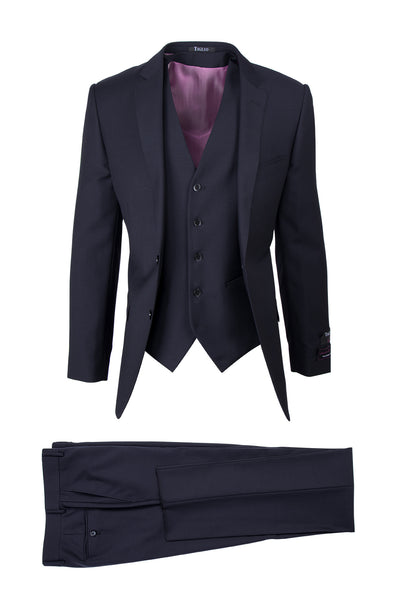 Sienna Navy, Slim Fit, Pure Wool Suit & Vest by Tiglio Luxe TIG1002