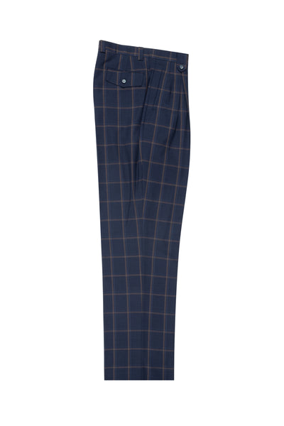 Navy with salmon windopane, Wide Leg Wool Dress Pant 2586/2576 by Tiglio Luxe T7033/3