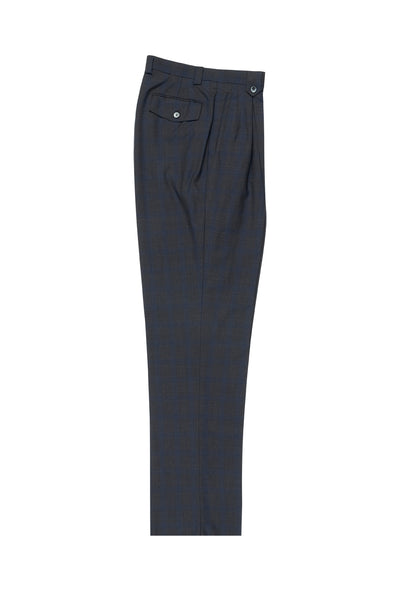 Charcoal Gray with Royal Blue Windowpane Wide Leg, Wool Dress Pant 2586/2576 by Tiglio Luxe T7156/2