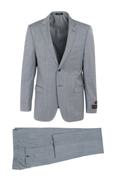 Sangria Navy and Lightest Gray Thin Stripe Modern Fit, Pure Wool Suit by Tiglio Luxe T80452/1201