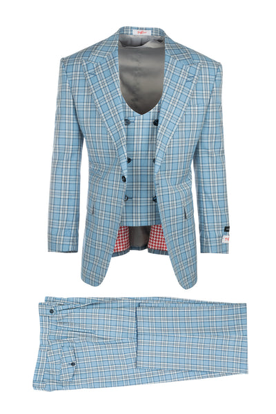 Luca Light Blue with Dark Blue and White Plaid, Pure Wool, Wide Leg Suit & Vest by Tiglio Rosso T96307/087/1