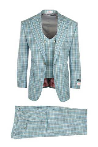 Luca Sage Green with Blue and White Plaid, Pure Wool, Wide Leg Suit & Vest by Tiglio Rosso T96307/087/2