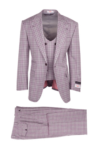 Luca Violet with Purple and White Plaid, Pure Wool, Wide Leg Suit & Vest by Tiglio Rosso T96307/087/3