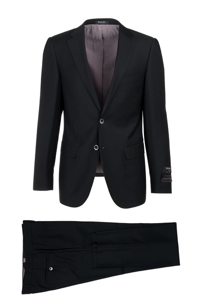Porto Black, Slim Fit, Pure Wool Suit & Vest by Tiglio Luxe TIG1001