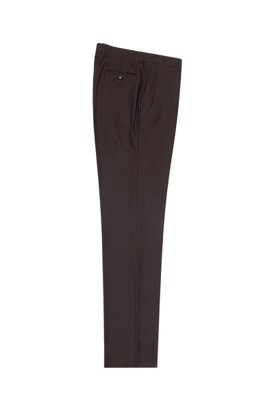 Brown Flat Front Wool Dress Pant 2560 by Tiglio Luxe TIG1003