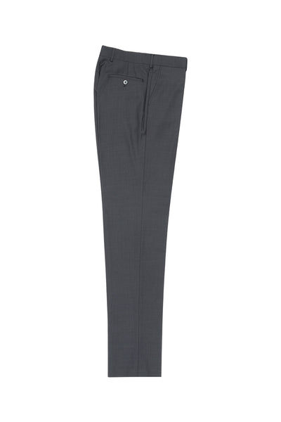 Gray Flat Front Wool Dress Pant 2560 by Tiglio Luxe TIG1008