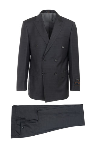 Merlot Charcoal Gray, Modern Fit, Pure Wool Suit by Tiglio Luxe TIG1010