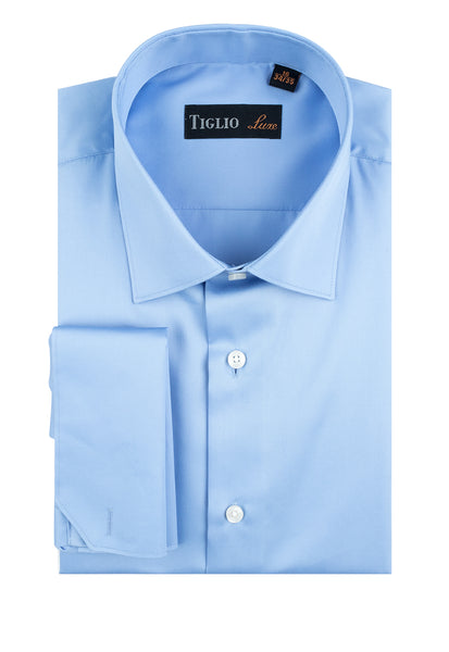 Blue Dress Shirt, French Cuff, by Tiglio Genova FC TIG3013