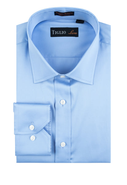 Blue Dress Shirt, Regular Cuff, by Tiglio Genova TIG3013