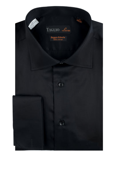 Black Dress Shirt, French Cuff, by Tiglio Genova FC TIG3014